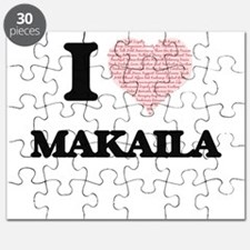 I love Makaila (heart made from words) desi Puzzle