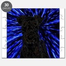 Rainbow Outlined Airedale Terrier in Warp D Puzzle