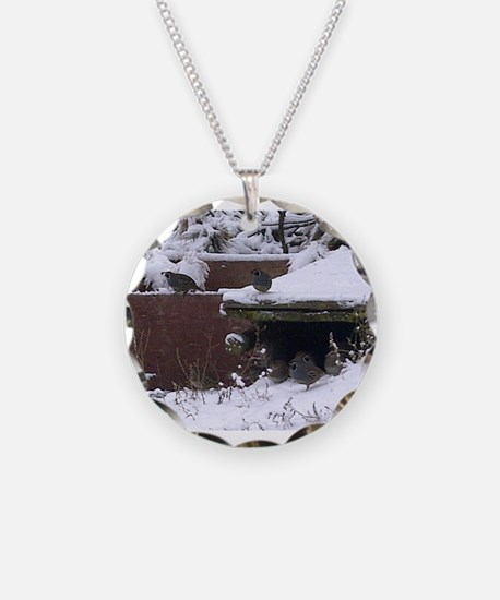 Quail in the snow Necklace