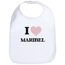 I love Maribel (heart made from words) design Bib