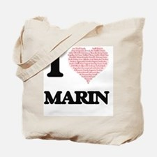 I love Marin (heart made from words) desi Tote Bag