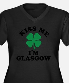 Cute Glasgow Women's Plus Size V-Neck Dark T-Shirt