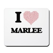 I love Marlee (heart made from words) de Mousepad
