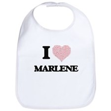 I love Marlene (heart made from words) design Bib