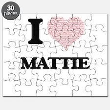 I love Mattie (heart made from words) desig Puzzle
