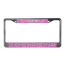 Pink Polka Dot Gold Cap Conure License Plate Frame