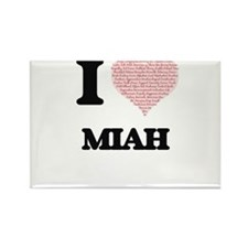 I love Miah (heart made from words) design Magnets