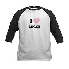 I love Micah (heart made from word Baseball Jersey