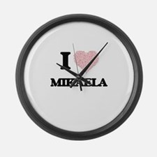 I love Mikaela (heart made from w Large Wall Clock