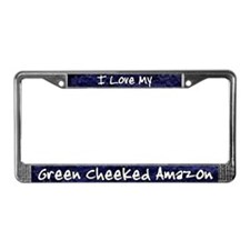 Funky Love Green Cheek Amazon License Plate Frame