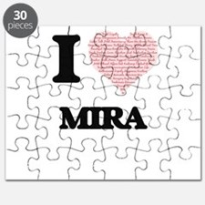 I love Mira (heart made from words) design Puzzle