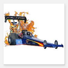 "Flaming Top Fuel Square Car Magnet 3"" x 3"""