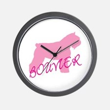 Pink Bouvier With Text Wall Clock