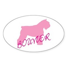 Pink Bouvier With Text Oval Decal