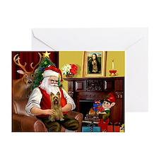 Santa's Silky Terrier Greeting Cards (Pk of 20)
