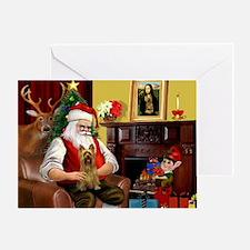 Santa's Silky Terrier Greeting Card