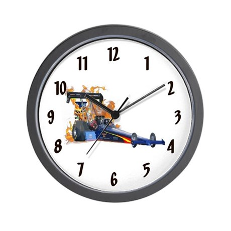 Flaming Top Fuel Wall Clock by DragRacingGifts