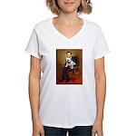 Lincoln's English Bulldog Women's V-Neck T-Shirt