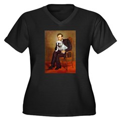 Lincoln's English Bulldog Women's Plus Size V-Neck
