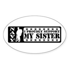 Proudly Support Sister - NAVY Oval Decal