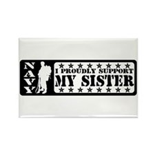Proudly Support Sister - NAVY Rectangle Magnet