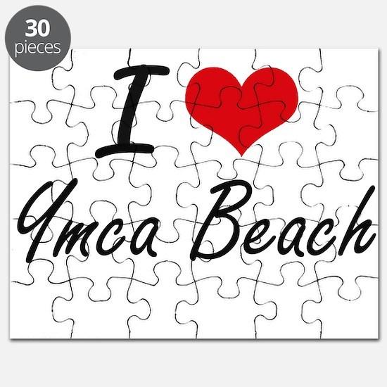 I love Ymca Beach Wisconsin artistic desig Puzzle