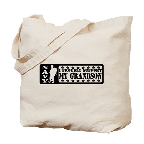 Proudly Support Grandson - NAVY Tote Bag