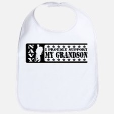 Proudly Support Grandson - NAVY Bib