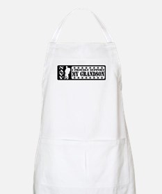 Proudly Support Grandson - NAVY BBQ Apron