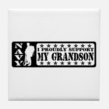 Proudly Support Grandson - NAVY Tile Coaster