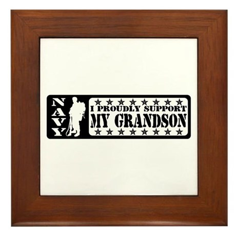 Proudly Support Grandson - NAVY Framed Tile