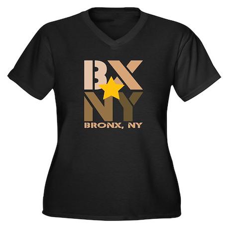 BX, Bronx Brown Women's Plus Size V-Neck Dark T-Sh
