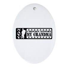 Proudly Support Grdma - NAVY Oval Ornament