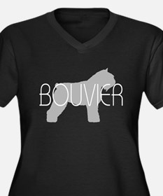 Bouvier Dog Women's Plus Size V-Neck Dark T-Shirt