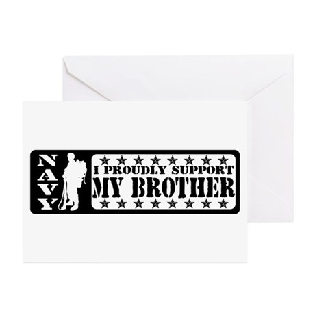 Proudly Support Bro - NAVY Greeting Cards (Pk of 1