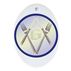 Masonic Knife and Fork Degree Oval Ornament