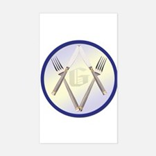 Masonic Knife and Fork Degree Sticker (Rectangular