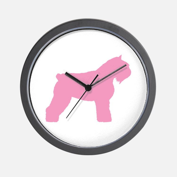 Pink Bouvier Des Flandres Wall Clock