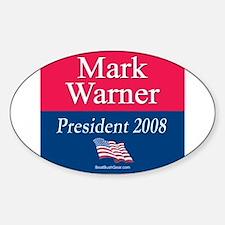 """Mark Warner President"" Oval Decal"