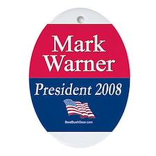 """Mark Warner President"" Oval Ornament"
