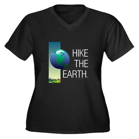 TOP Hike the Women's Plus Size V-Neck Dark T-Shirt