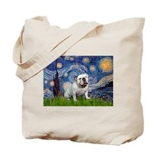 Starry Night English Bulldog Tote Bag