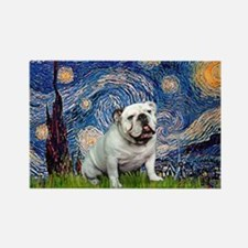 Starry Night English Bulldog Rectangle Magnet