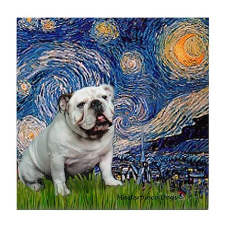 Starry Night English Bulldog Tile Coaster