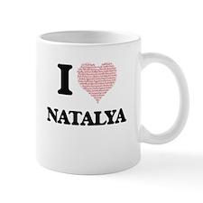 I love Natalya (heart made from words) design Mugs