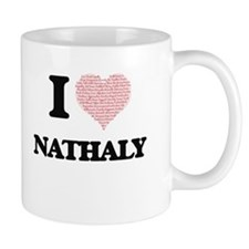 I love Nathaly (heart made from words) design Mugs