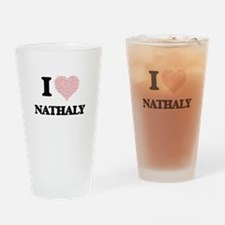 I love Nathaly (heart made from wor Drinking Glass