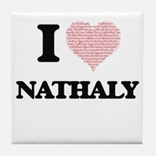 I love Nathaly (heart made from words Tile Coaster