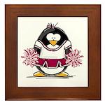 Burgundy Cheerleader Penguin Framed Tile