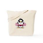 Burgundy Cheerleader Penguin Tote Bag